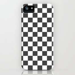 Gingham Dark Slate Grey Checked Pattern iPhone Case