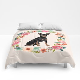 miniature pinscher floral wreath dog breed pet portrait pure breed dog lovers Comforters