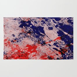 Hot And Cold - Textured Abstract In Blue, Red And Black Rug