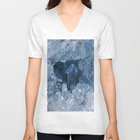 minerals V-neck T-shirts featuring Blue Gemstone by Kristiana Art Prints