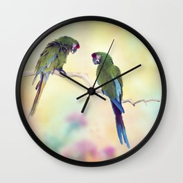 Colorful Macaw Parrots Perching On A Branch.Digital art Wall Clock