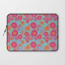 Spinning Wheels - pink & orange on aqua Laptop Sleeve