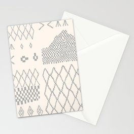 Moroccan Patchwork in Cream and Grey Stationery Cards