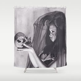 Realism Charcoal Drawing of Sexy Dark Queen in Veil with Skull Shower Curtain
