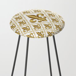 Gold Fleur-de-Lis Pattern Counter Stool