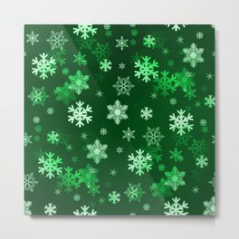 Dark Green Snowflakes Metal Print