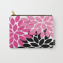Bold Colorful Hot Pink Black Dahlia Flower Burst Petals Carry-All Pouch