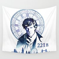 sherlock Wall Tapestries featuring Sherlock by Jackie Sullivan
