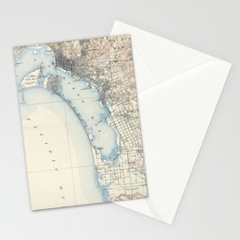 Vintage Map of San Diego California (1902) Stationery Cards