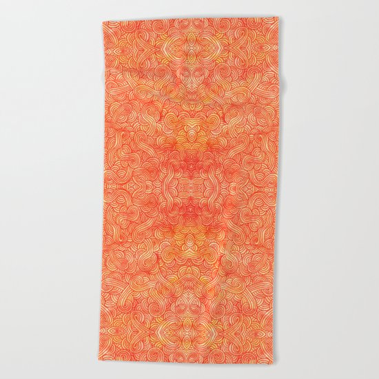 Red and orange swirls doodles Beach Towel