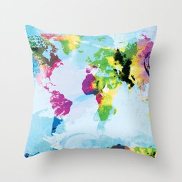 One Colourful World / Blue Throw Pillow