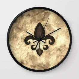 Sepia Gold and Brown Fleur de Lis with Butterfly Wall Clock