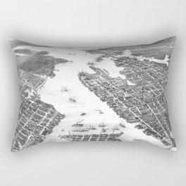 Vintage Map of Norfolk and Portsmouth VA (1873) BW Rectangular Pillow