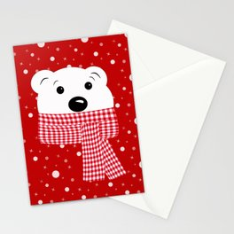 Muzzle of a polar bear on a red background. Stationery Cards