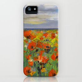 Poppy Field with Storm Clouds iPhone Case