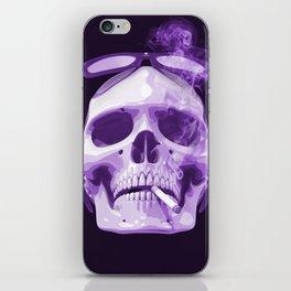 Skull Smoking Cigarette Purple iPhone Skin