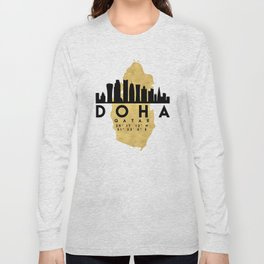 DOHA QATAR SILHOUETTE SKYLINE MAP ART Long Sleeve T-shirt