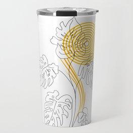 Monstera line Art Travel Mug