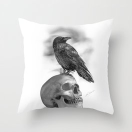 The Raven and The Skull - By Julio Lucas Throw Pillow