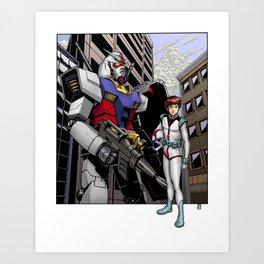 Gundam and Amuro Ray Art Print