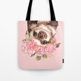 Baby Sloth with Flowers Crown Tote Bag