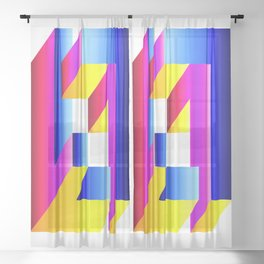impossible square gradient  Sheer Curtain
