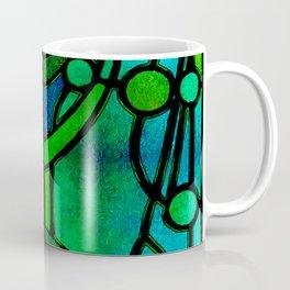 Green and Aqua Art Nouveau Stained Glass Art Coffee Mug