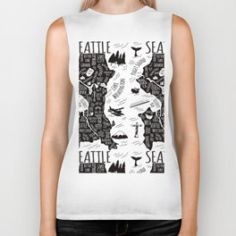 Seattle Illustrated Map in Black and White - Repeat Biker Tank