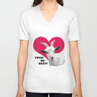 totes V-neck T-shirts featuring Totes Ma Goats - Red by BACK to THE ROOTS