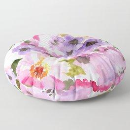 Pink Purple Watercolor Flowers Floor Pillow
