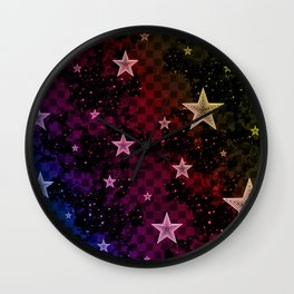 Rainbow Neon Stars Wall Clock