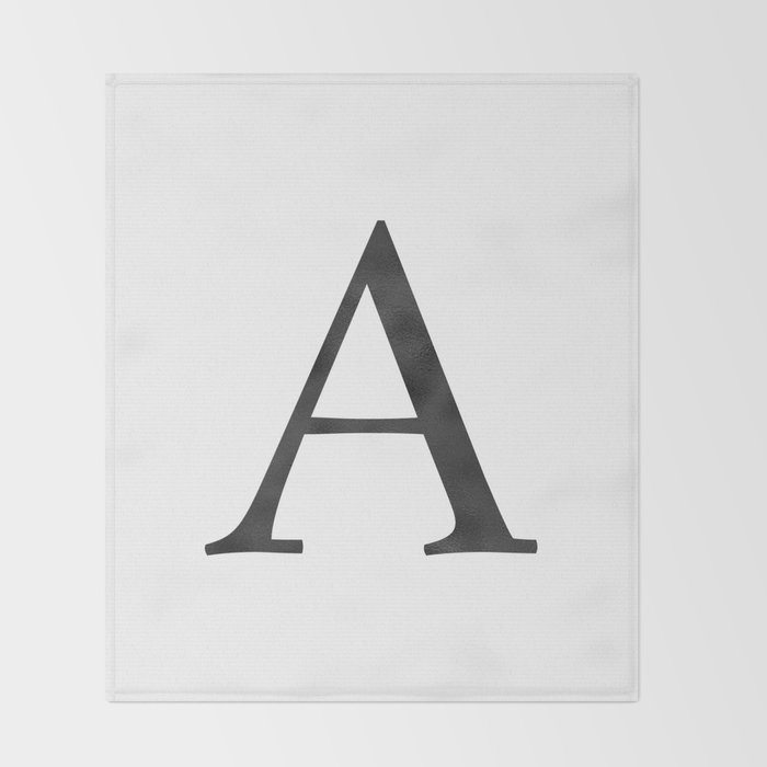 Letter A Initial Monogram Black and White Throw Blanket
