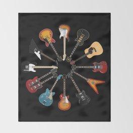 Guitar Circle Throw Blanket