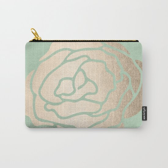 Rose White Gold Sands on Pastel Green Cactus Carry-All Pouch