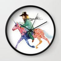 cowboy Wall Clocks featuring Cowboy by Ksenia Sapunkova