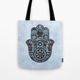 Watercolor Blue Pink Hamsa Hand Tote Bag