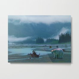 Great Spirit Bear and Misty River Metal Print
