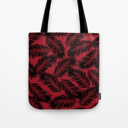 Palm Frond Tropical Décor Leaf Pattern Black on Red Tote Bag