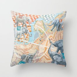 Elephant football game Throw Pillow