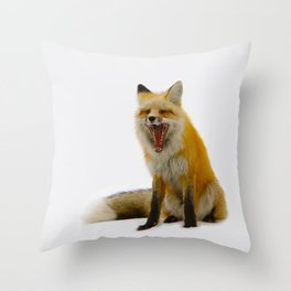 Yawning Fox Throw Pillow
