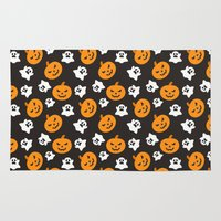 halloween Area & Throw Rugs featuring Halloween by cat&wolf