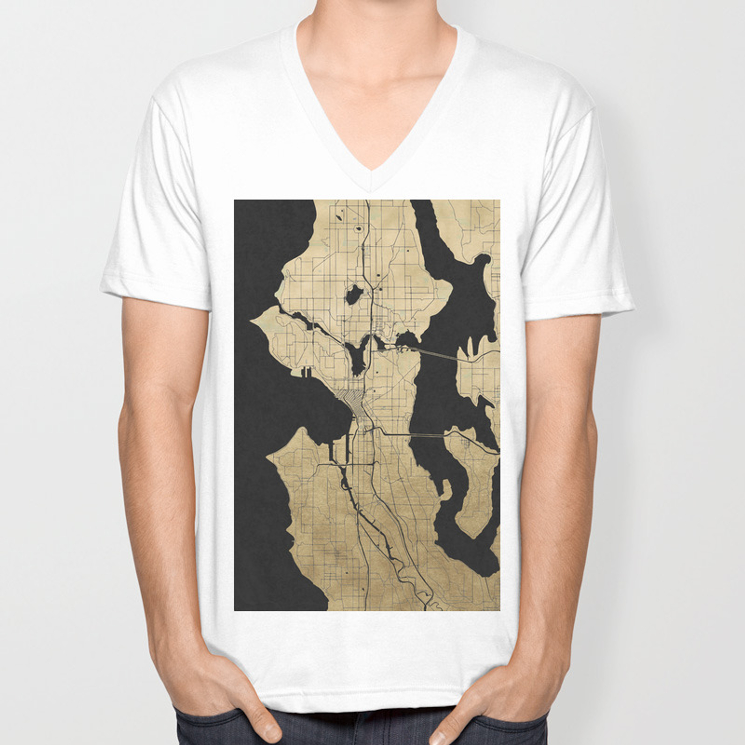 252ec89a8d Seattle Black and Gold Street Map Unisex V-Neck by mapmaker