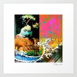 Geisha Tsunami #1 Art Print