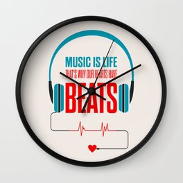 Lab No. 4 - Music Is Life.. That's Why Our Hearts Have Beats Motivational Quotes Poster Wall Clock