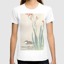 Pipit Bird and Montbretia Flower - Vintage Japanese Woodblock Print Art T-shirt