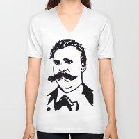 nietzsche V-neck T-shirts featuring  Friedrich Nietzsche Portrait Black and White Modern Art hand done  by The Odd Portrait