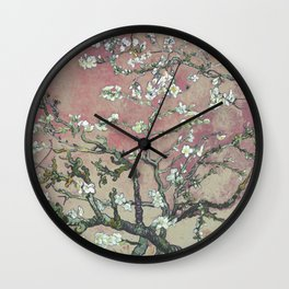 Almond Blossom - Vincent Van Gogh (pink pastel and cream) Wall Clock