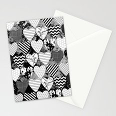 Textured Black And White Hearts - Abstract, geometric pattern Stationery Cards