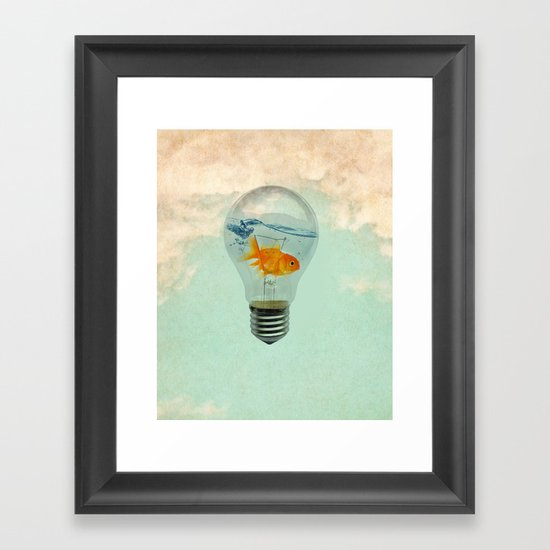 goldfish thinking Framed Art Print