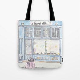 Paris Blue Cafe with Pink Scooter Cat  Tote Bag
